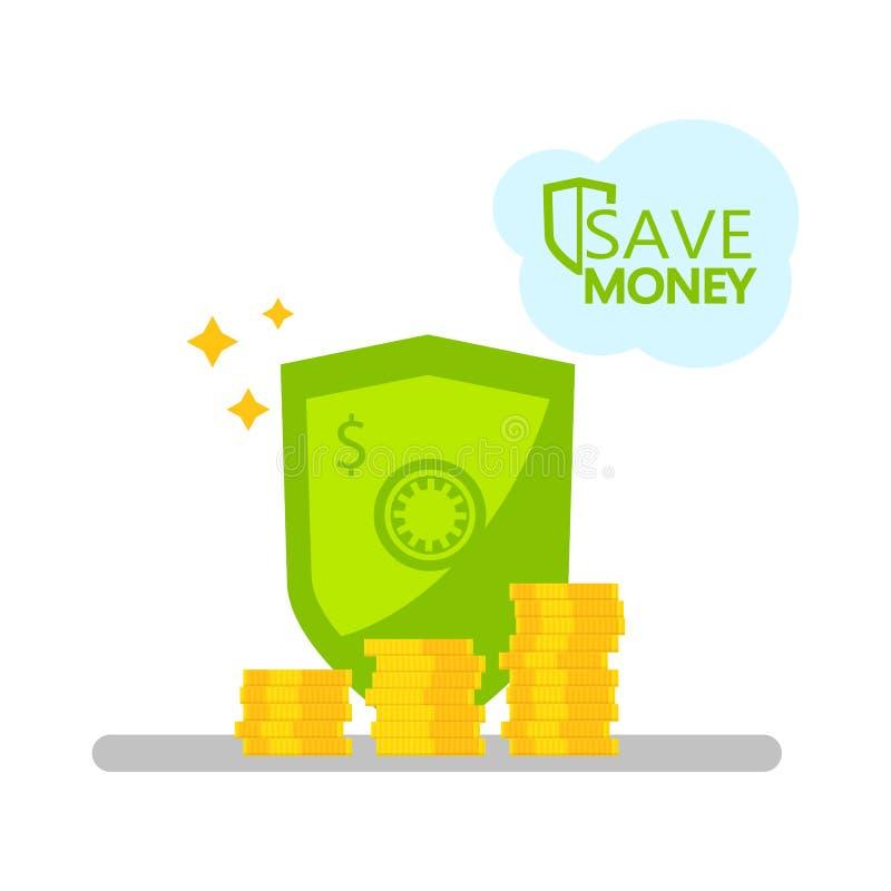 设计保护的现金投资和储蓄概念和存贮  盾和堆金币 投资和managem 库存例证