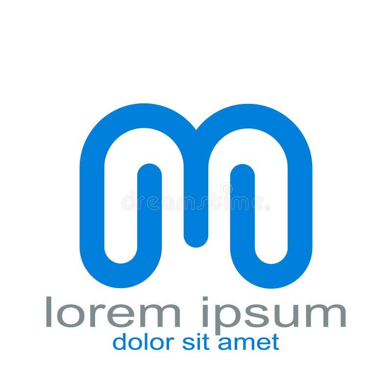 设计信件m商标模板 数据,事务 向量例证