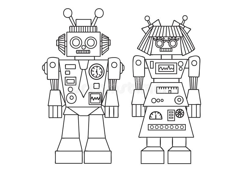 设计元素和彩图页的手拉的逗人喜爱的机器人孩子和成人的 也corel凹道例证向量 皇族释放例证