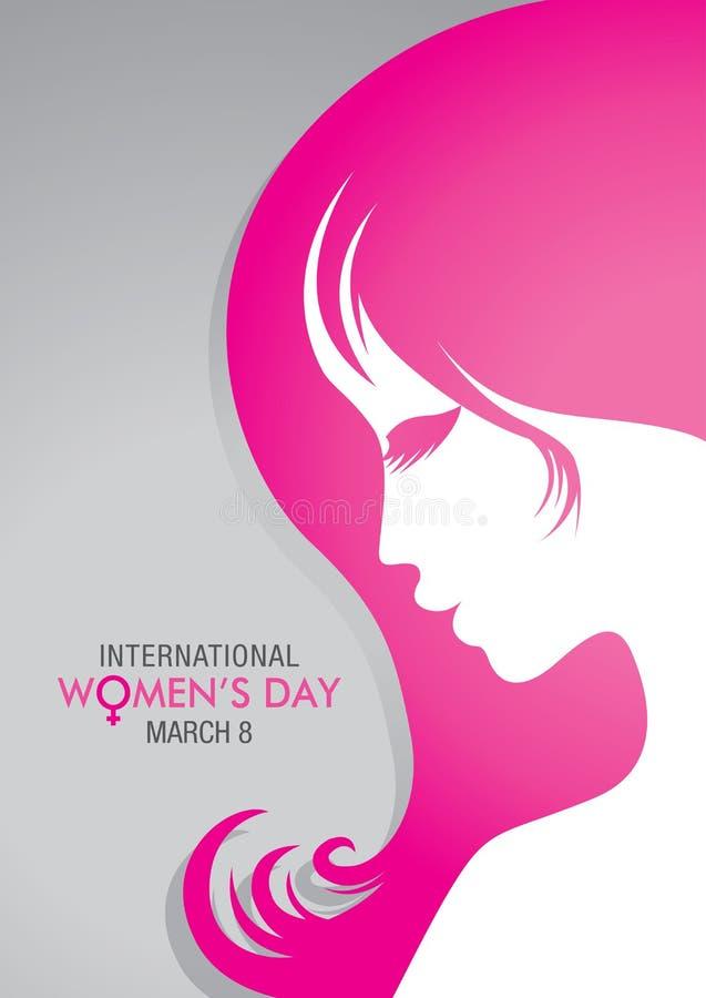 设计关于与一张妇女面孔的图画的国际妇女` s天与桃红色头发的在灰色背景 库存例证