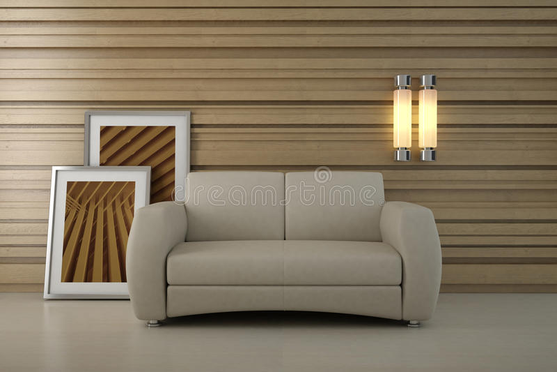 设计内部现代空间沙发 皇族释放例证