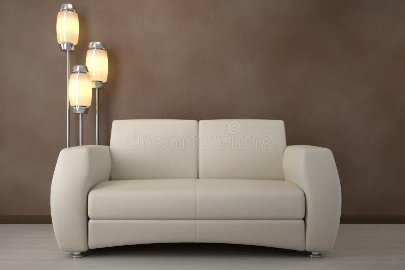 设计内部空间沙发 库存例证