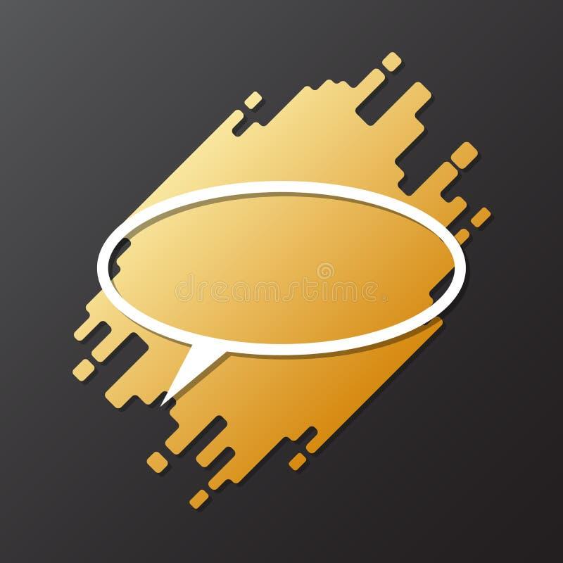 设计动态被环绕的形式的元素与卵形纸被削减的讲话泡影 库存例证