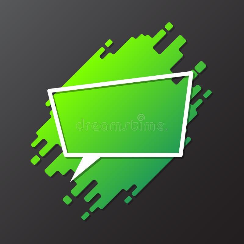 设计动态被环绕的形式的绿色元素与纸被削减的讲话泡影 向量例证