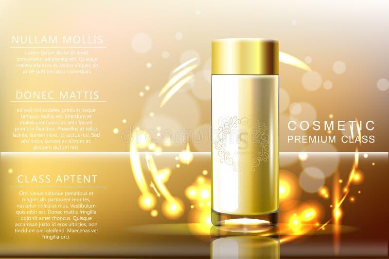 设计化妆用品玻璃瓶商品广告 在透明boke背景 向量3d例证 向量例证
