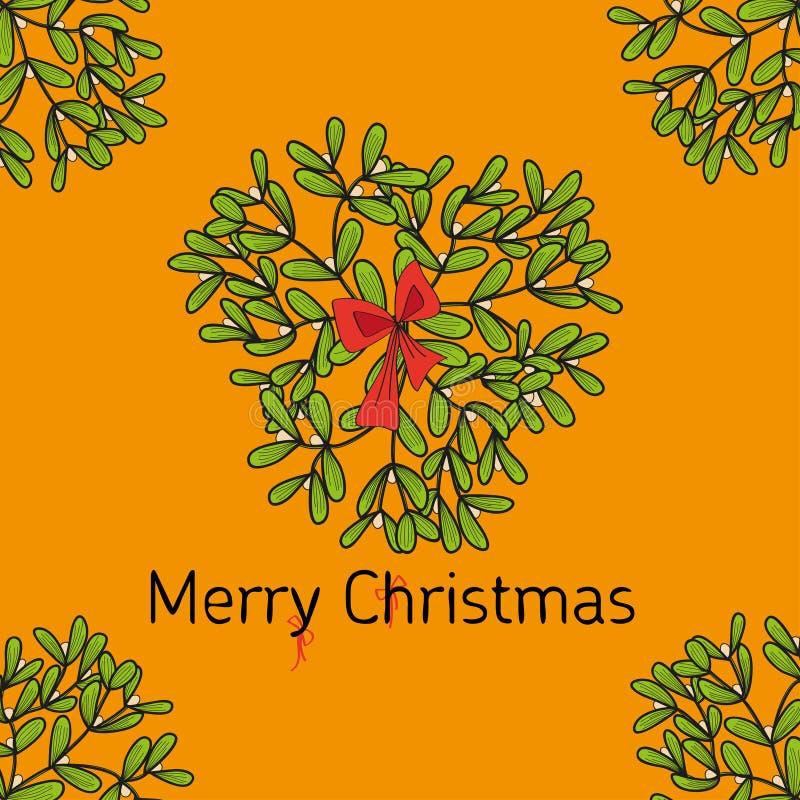 设计卡片槲寄生的圣诞节枝杈并且鞠躬 皇族释放例证
