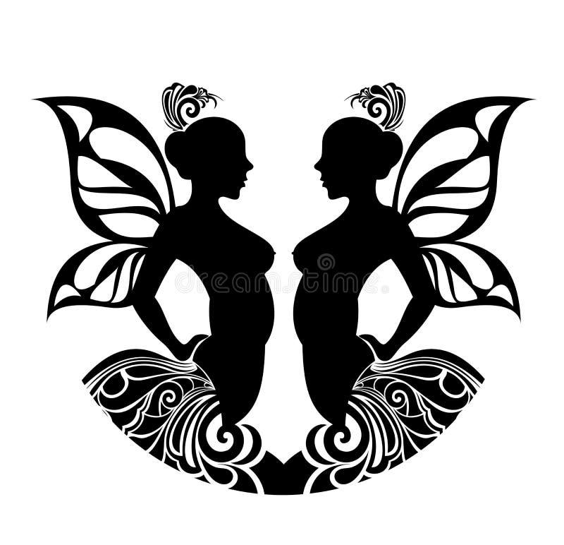 设计双子星座符号纹身花刺黄道带 向量例证