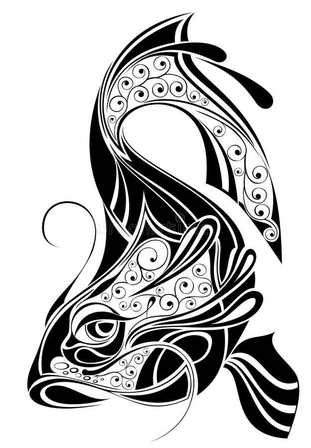 设计双鱼座签署纹身花刺 皇族释放例证