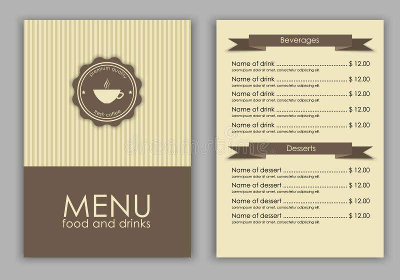 设计咖啡的一份菜单 库存例证