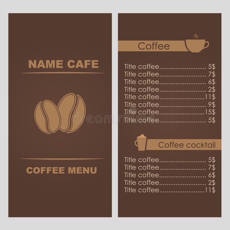 设计咖啡菜单 皇族释放例证