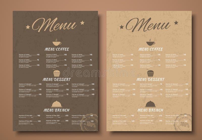 设计咖啡馆、商店或者咖啡因的一份菜单在一个减速火箭的样式 向量例证