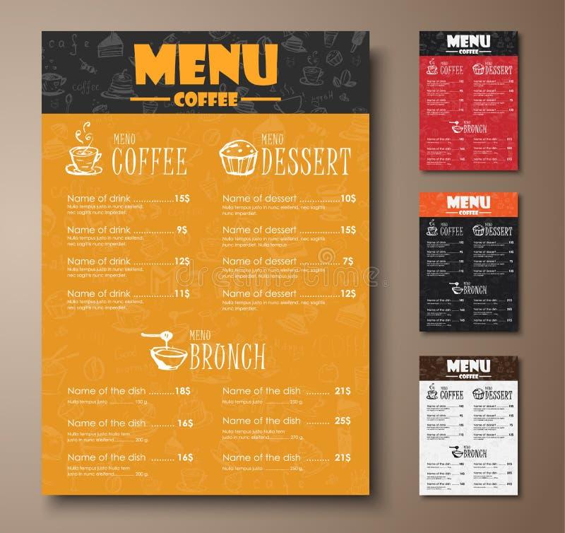 设计咖啡馆、商店或者咖啡店的一份菜单与手凹道 库存例证