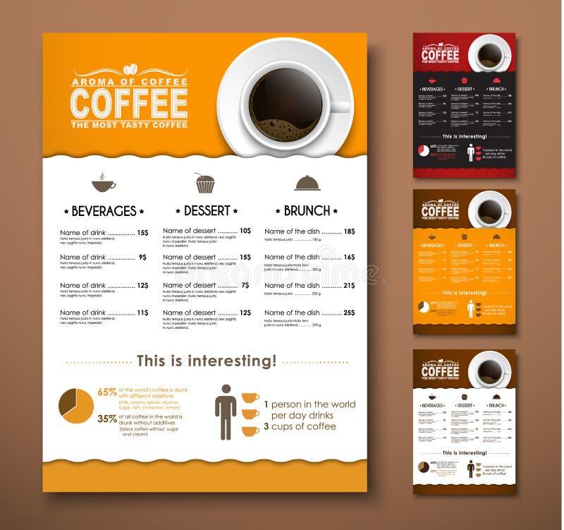 设计咖啡馆、商店或者咖啡店的一份菜单 向量例证