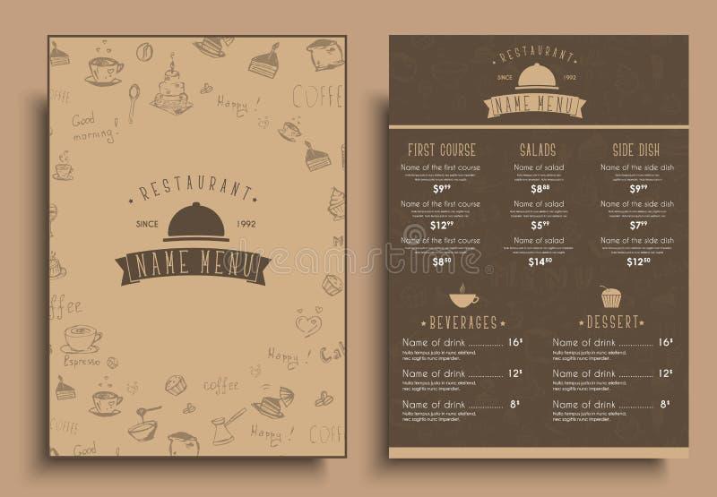 设计咖啡馆的一份一个减速火箭的样式的菜单或餐馆 库存例证