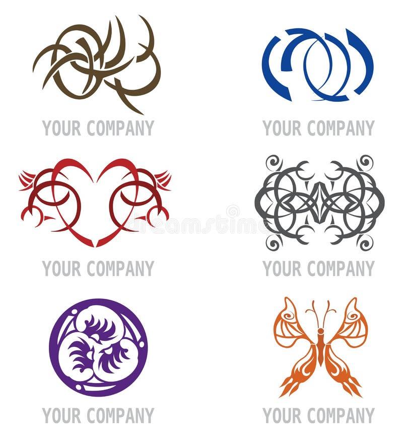 设计图标徽标集合纹身花刺 库存例证
