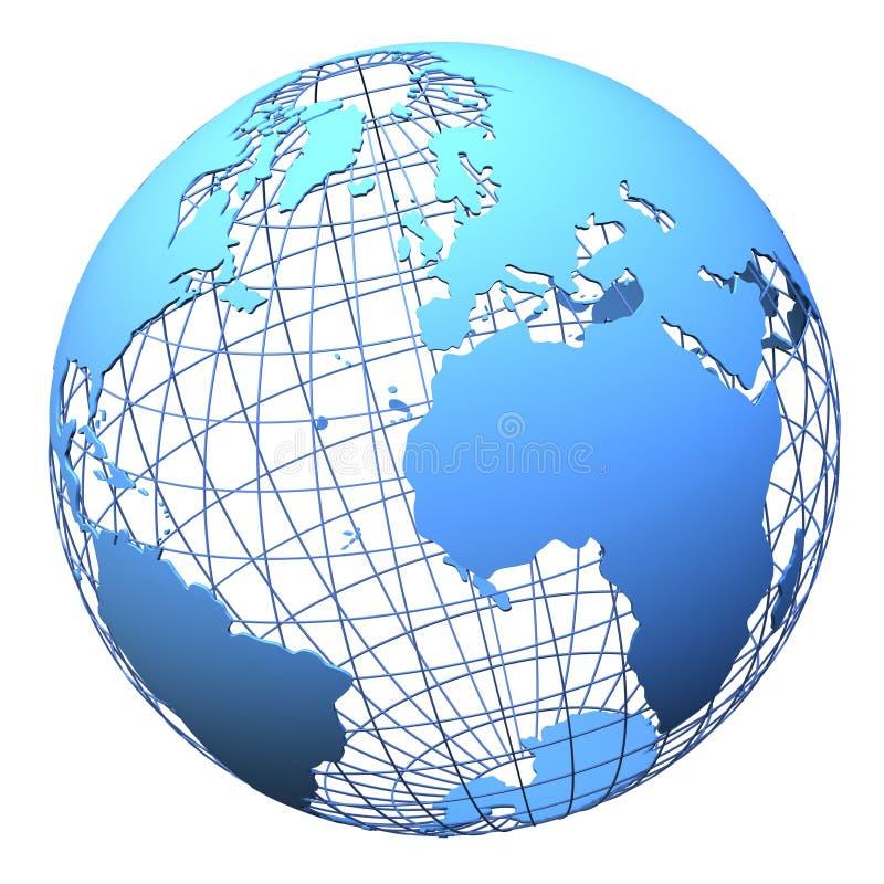 设计地球查出的行星wireframe 库存例证