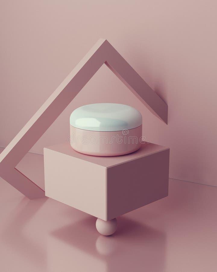 设计天然化妆品奶油,血清,skincare空白瓶包装 生物有机产品 秀丽和温泉概念 库存照片