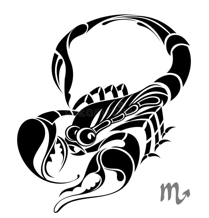 设计天蝎座符号纹身花刺向量黄道带 皇族释放例证