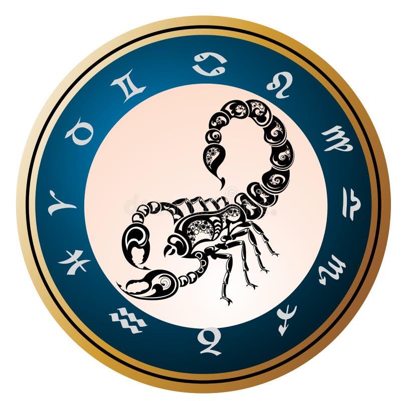设计天蝎座签署纹身花刺黄道带 皇族释放例证