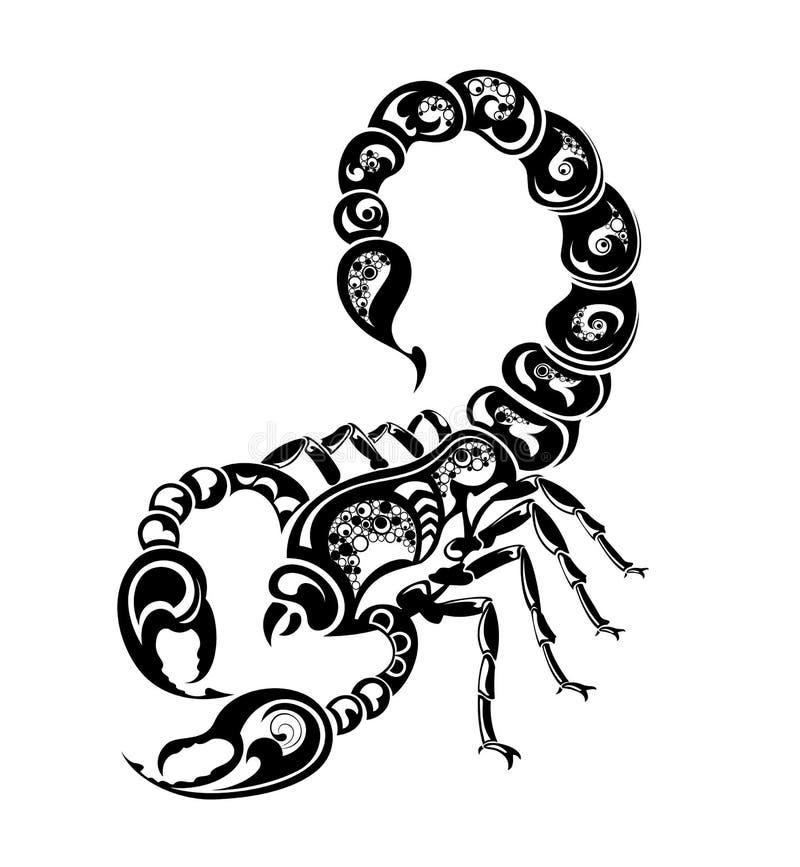 设计天蝎座签署纹身花刺黄道带 向量例证