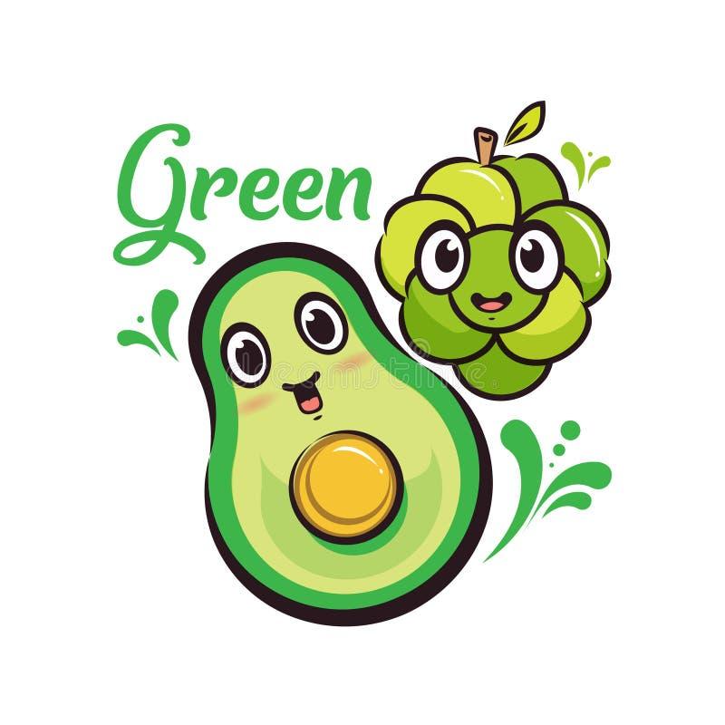 设计字符绿色葡萄&鲕梨动画片 向量例证