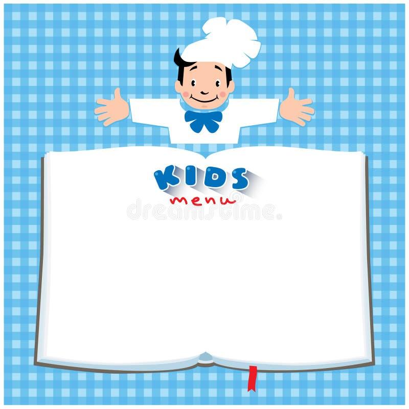 设计孩子菜单的模板与滑稽的厨师男孩 向量例证