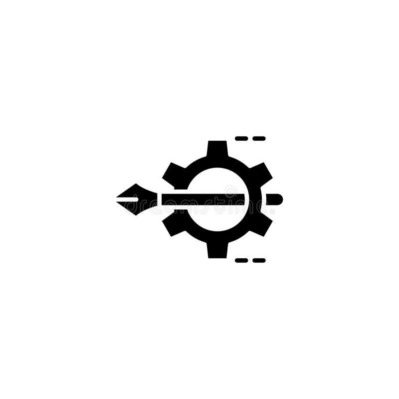 设计工作黑色象概念 设计工作平的传染媒介标志,标志,例证 皇族释放例证