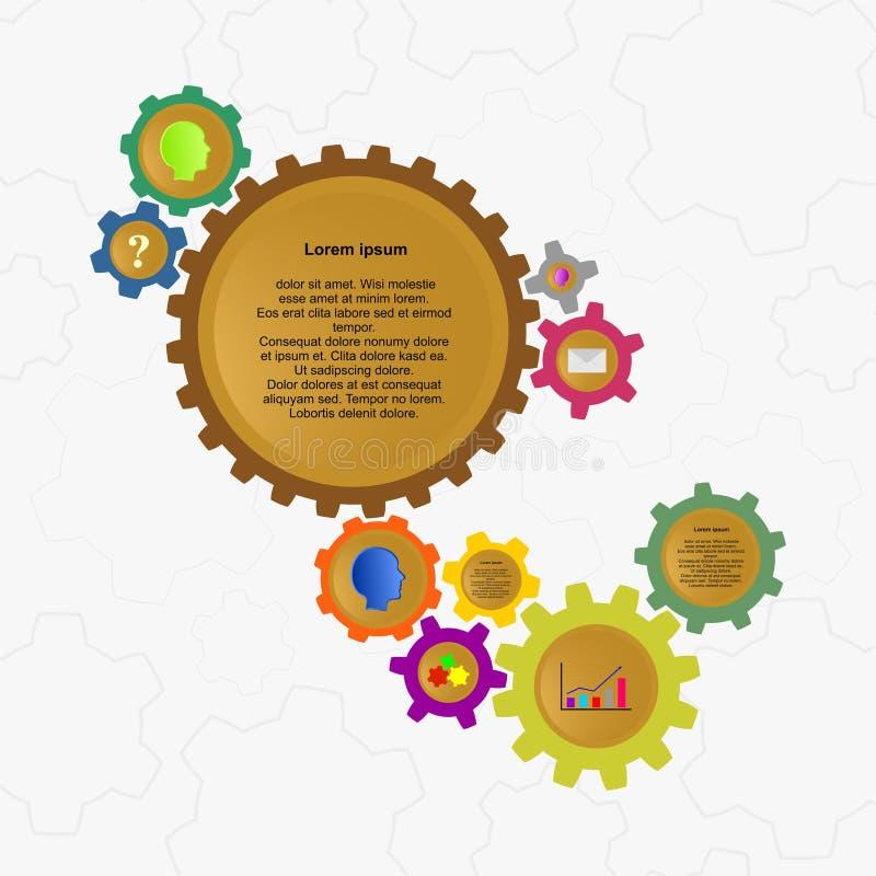 设计师不同的颜色和大小色的齿轮颜色infographics,有另外象和标签背景与灰色骗局 皇族释放例证