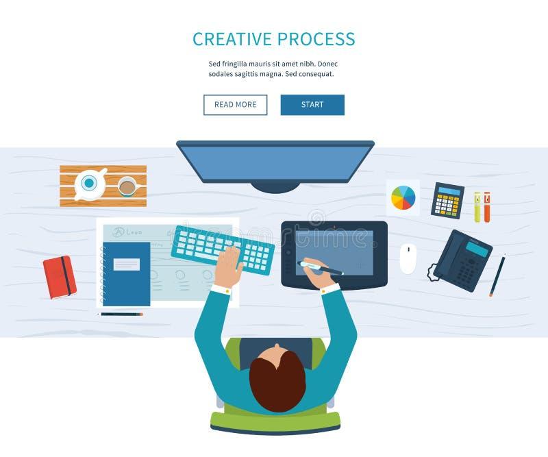 设计师与工具和设备的办公室工作区 库存例证