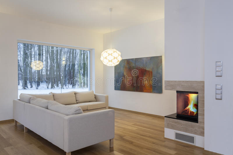 设计师内部-舒适客厅 免版税库存照片
