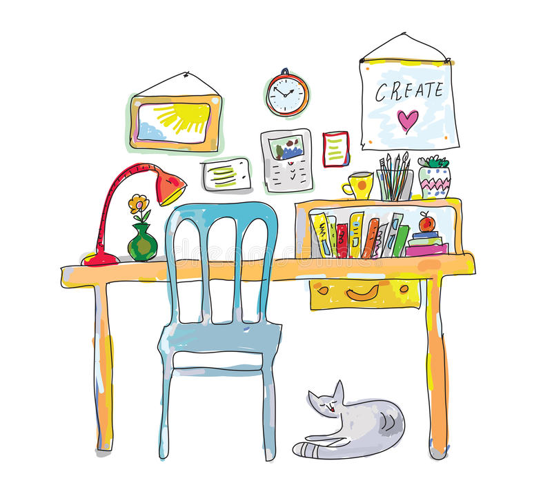 设计师剪影的家庭工作场所 库存例证