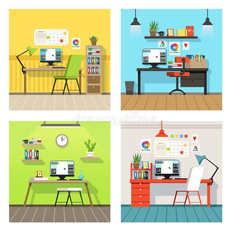 设计师和艺术家的创造性的工作区用不同的工具 在动画片样式设置的传染媒介横幅 库存例证