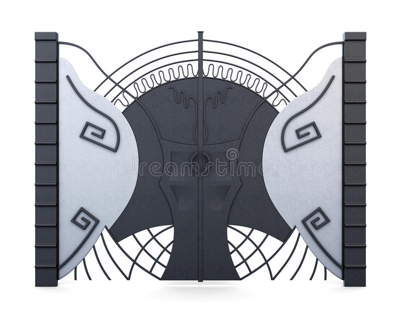 设计师在白色背景隔绝的铁门 3d翻译 库存例证