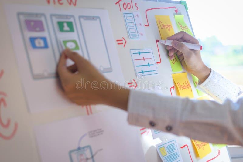 设计师妇女画的申请排序布局的特写镜头手对开发的流动应用的 用户经验设计 库存图片