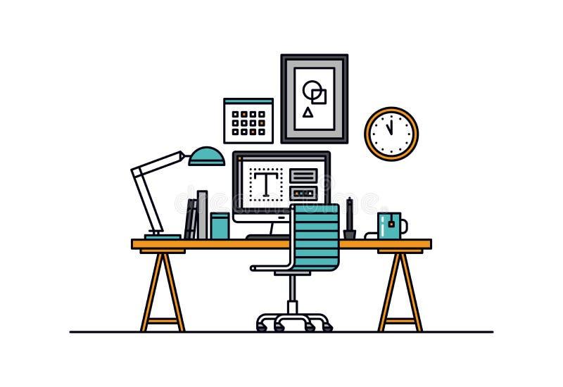 设计师工作区线型例证 向量例证