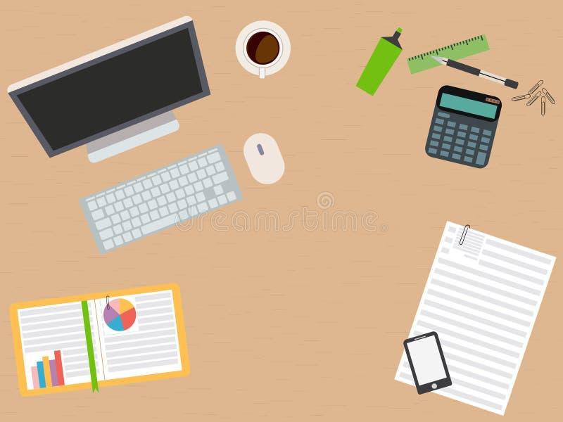 设计师工作场所 平的设计 例证 向量例证