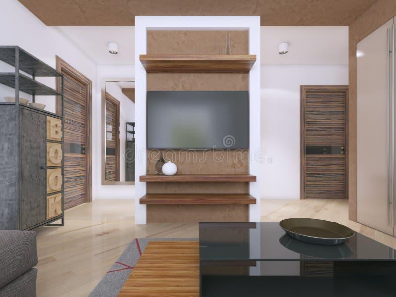 设计师电视单位在现代客厅 向量例证