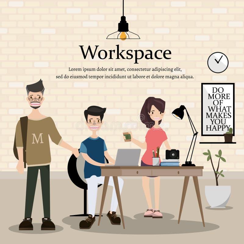 设计师的工作场所 现代家庭办公室设计  配合是事务的突发的灵感 皇族释放例证