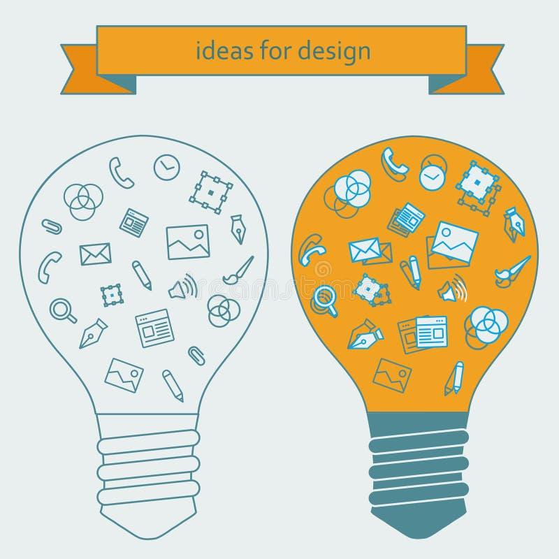 Download 设计师的想法 库存例证. 插画 包括有 互联网, 设计, bulfinch, 背包, 徽标, 启示, 部分 - 62537854
