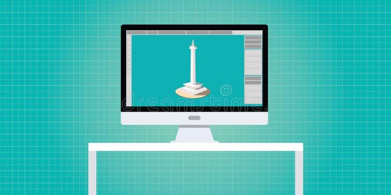 设计师3d开发商工作区个人计算机计算机 皇族释放例证