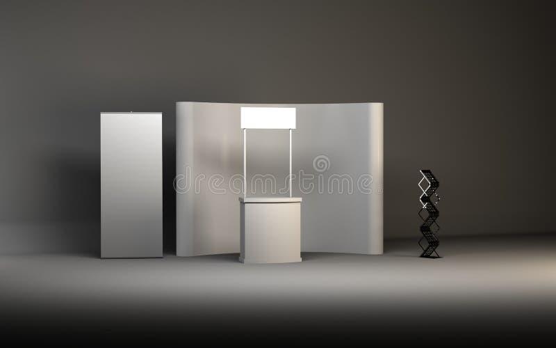 设计师3D翻译的空白的商业展览摊 向量例证