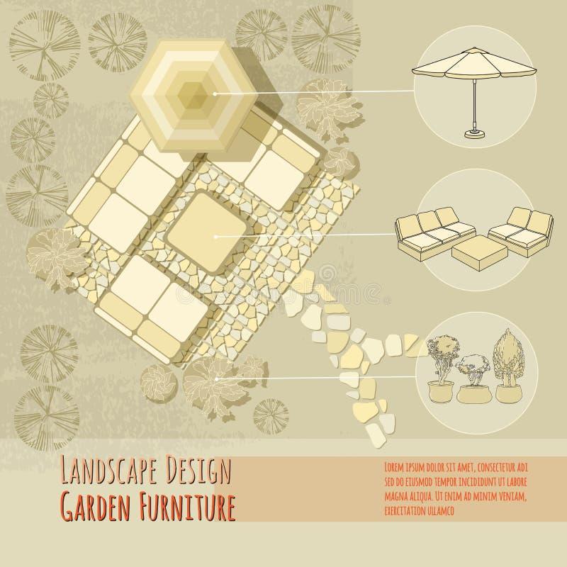 设计庭院庭院哈密尔顿新西兰 躺椅,伞 顶视图 库存例证