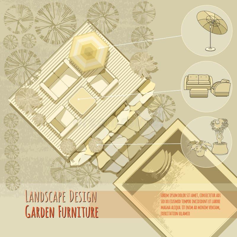 设计庭院庭院哈密尔顿新西兰 躺椅,伞 顶视图 向量例证