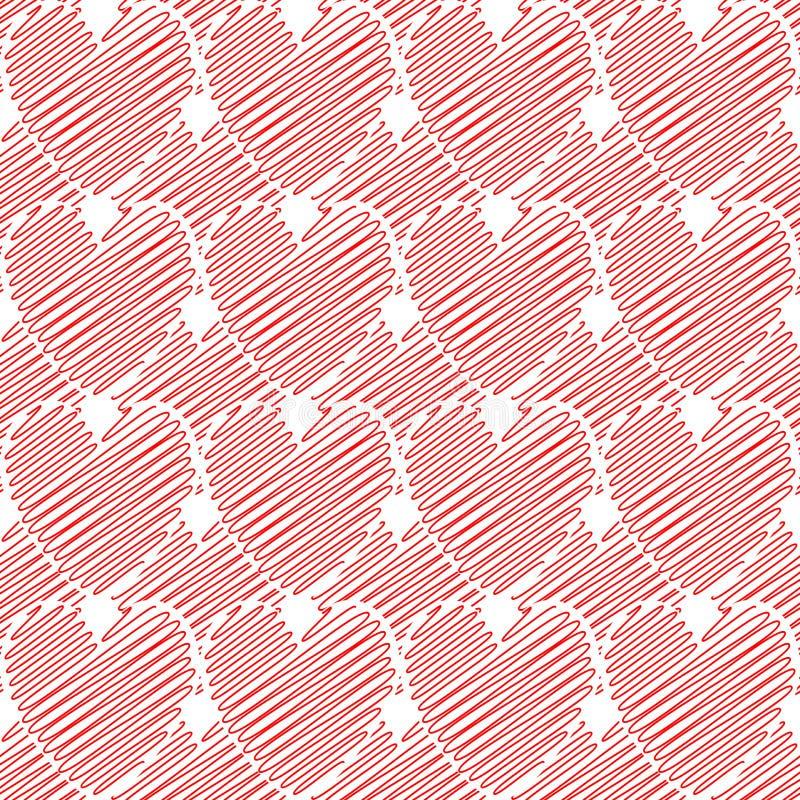 设计无缝的五颜六色的乱画心脏样式。Val 库存例证