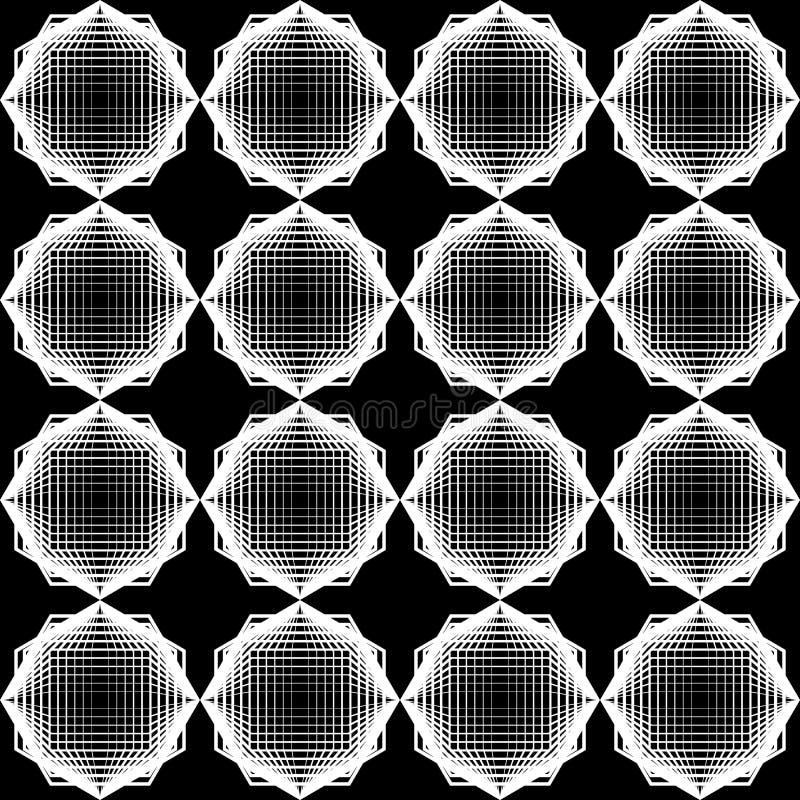 设计无缝的单色几何样式 库存例证