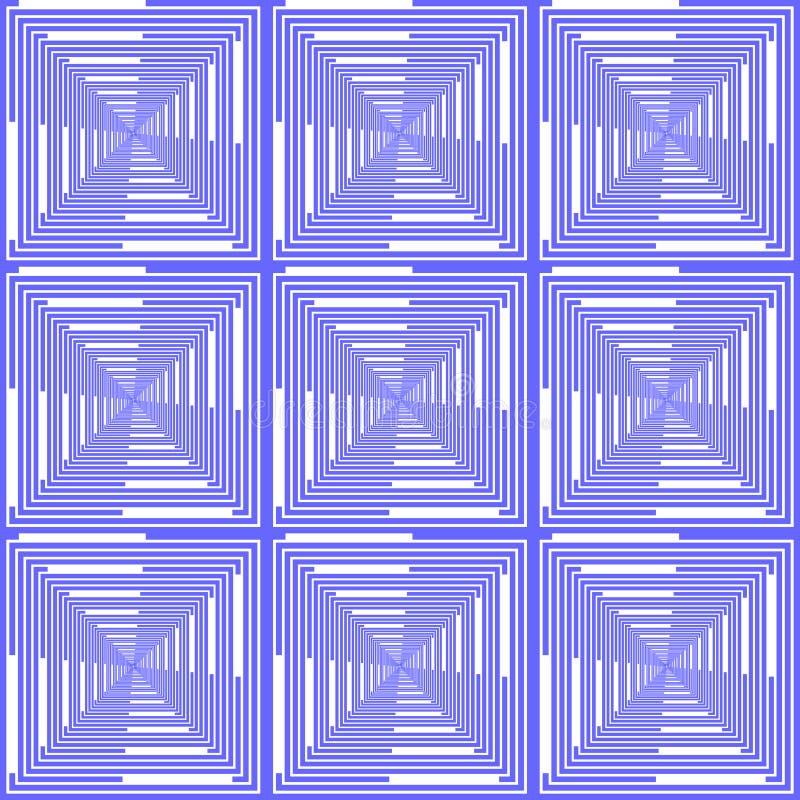 设计无缝的蓝色被检查的样式。抽象geo 向量例证