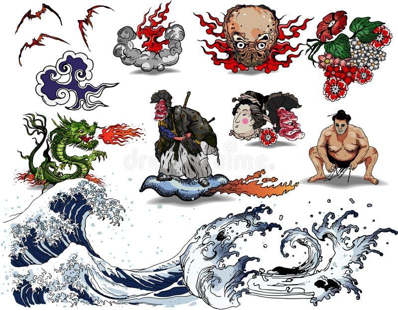 设计日本人纹身花刺 皇族释放例证
