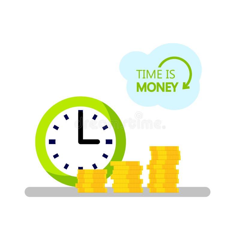 设计时间的概念是金钱 几小时和堆硬币 预算、投资和储蓄计划  传染媒介平的线象 向量例证