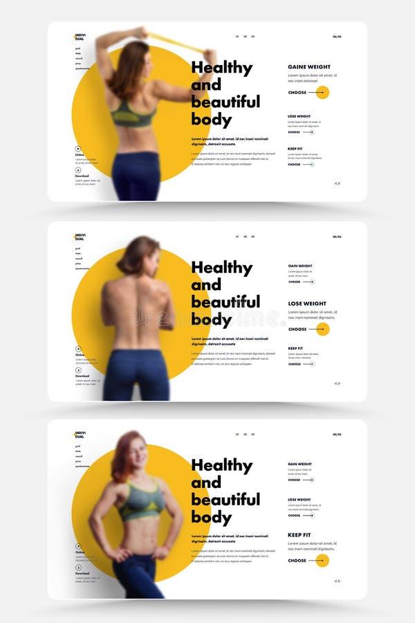 设计是网站的主页的体育教练员、营养师或者健身房 向量例证