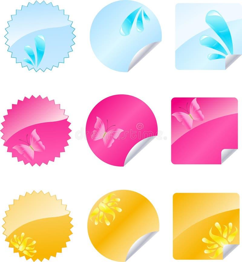 设计标记多彩多姿的集发光 库存例证